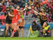 10 September 2017; Gemma O'Connor of Cork in action against Denise Gaule of Kilkenny, left, and Katie Power of Kilkenny during the Liberty Insurance All-Ireland Senior Camogie Final match between Cork and Kilkenny at Croke Park in Dublin. Photo by Piaras Ó Mídheach/Sportsfile