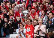 10 September 2017; Cork captain Rena Buckley lifts the The O'Duffy Cup after the Liberty Insurance All-Ireland Senior Camogie Final match between Cork and Kilkenny at Croke Park in Dublin. Photo by Matt Browne/Sportsfile