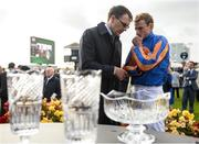 10 September 2017; Ryan Moore in conversation with trainer Aidan O'Brien after winning the Comer Group International Irish St Leger on Order of St George during the Longines Irish Champions Weekend 2017 at The Curragh Racecourse in Co Kildare. Photo by Cody Glenn/Sportsfile