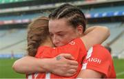 10 September 2017; Cork's Meabh Cahalane and team-mate Ashling Thompson, behind, celebrate after the Liberty Insurance All-Ireland Senior Camogie Final match between Cork and Kilkenny at Croke Park in Dublin. Photo by Piaras Ó Mídheach/Sportsfile