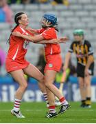 10 September 2017; Ashling Thompson of Cork celebrates with team-mate Eimear O'Sullivan, right, after the Liberty Insurance All-Ireland Senior Camogie Final match between Cork and Kilkenny at Croke Park in Dublin. Photo by Piaras Ó Mídheach/Sportsfile
