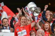 10 September 2017; Cork captain Rena Buckley lifts The O'Duffy Cup after the Liberty Insurance All-Ireland Senior Camogie Final match between Cork and Kilkenny at Croke Park in Dublin. Photo by Piaras Ó Mídheach/Sportsfile