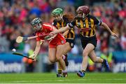 10 September 2017; Amy O'Connor of Cork in action against Collette Dormer, centre, and Anne Dalton of Kilkenny during the Liberty Insurance All-Ireland Senior Camogie Final match between Cork and Kilkenny at Croke Park in Dublin. Photo by Piaras Ó Mídheach/Sportsfile