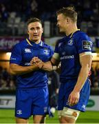 8 September 2017; Jordan Larmour, left, and Josh van der Flier of Leinster celebrate after the Guinness PRO14 Round 2 match between Leinster and Cardiff Blues at the RDS Arena in Dublin. Photo by Brendan Moran/Sportsfile