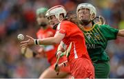 10 September 2017; Finola Neville of Cork in action against Megan Thynne of Meath during the Liberty Insurance All-Ireland Intermediate Camogie Championship Final match between Cork and Meath at Croke Park in Dublin. Photo by Piaras Ó Mídheach/Sportsfile