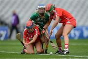 10 September 2017; Cheyenne O'Brien of Meath in action against Niamh Ní Chaoimh, left, and Finola Neville of Cork during the Liberty Insurance All-Ireland Intermediate Camogie Championship Final match between Cork and Meath at Croke Park in Dublin. Photo by Piaras Ó Mídheach/Sportsfile
