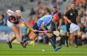 10 September 2017; Emer Keenan of Dublin in action against Mairéad McCormack of Westmeath during the Liberty Insurance All-Ireland Premier Junior Camogie Championship Final match between Dublin and Westmeath at Croke Park in Dublin. Photo by Piaras Ó Mídheach/Sportsfile