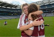 10 September 2017; Westmeath's Meadbh Scally, left, and Aoife Higgins celebrate after the Liberty Insurance All-Ireland Premier Junior Camogie Championship Final match between Dublin and Westmeath at Croke Park in Dublin. Photo by Piaras Ó Mídheach/Sportsfile