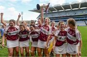 10 September 2017; Westmeath's Mairéad McCormack, centre, and her team-mates celebrate after the Liberty Insurance All-Ireland Premier Junior Camogie Championship Final match between Dublin and Westmeath at Croke Park in Dublin. Photo by Piaras Ó Mídheach/Sportsfile