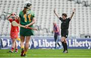 10 September 2017; Referee Liz Dempsey blows the full-time whistle as the game ends in a draw at the Liberty Insurance All-Ireland Intermediate Camogie Championship Final match between Cork and Meath at Croke Park in Dublin. Photo by Piaras Ó Mídheach/Sportsfile