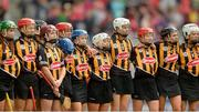 10 September 2017; Kilkenny players stand for the National Anthem before the Liberty Insurance All-Ireland Senior Camogie Final match between Cork and Kilkenny at Croke Park in Dublin. Photo by Piaras Ó Mídheach/Sportsfile