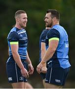 11 September 2017; Leinster's Rory O'Loughlin, left, and Cian Healy during squad training at UCD in Dublin. Photo by Ramsey Cardy/Sportsfile