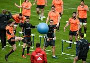 11 September 2017; Munster players including JJ Hanrahan, Bill Johnston, Ian Keatley, CJ Stander, Mike Sherry, Kevin O'Byrne, and Tommy O'Donnell play a game of foot tennis during Munster Rugby squad training at the University of Limerick in Limerick. Photo by Diarmuid Greene/Sportsfile