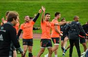 11 September 2017; Munster players including JJ Hanrahan and Conor Murray react during a game of foot tennis during Munster Rugby squad training at the University of Limerick in Limerick. Photo by Diarmuid Greene/Sportsfile