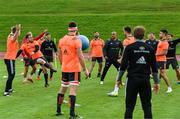 11 September 2017; Munster players including JJ Hanrahan, Bill Johnston, Jaco Taute, Simon Zebo and Conor Murray play a game of foot tennis during Munster Rugby squad training at the University of Limerick in Limerick. Photo by Diarmuid Greene/Sportsfile