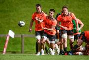 11 September 2017; Conor Murray of Munster, supported by team-mates Peter O'Mahony and Tom Ryan during Munster Rugby squad training at the University of Limerick in Limerick. Photo by Diarmuid Greene/Sportsfile