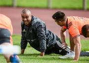 11 September 2017; Simon Zebo, left, and Conor Murray of Munster in conversation during Munster Rugby squad training at the University of Limerick in Limerick. Photo by Diarmuid Greene/Sportsfile