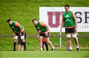 11 September 2017; Munster players, from left, Fineen Wycherley, Niall Scannell, and Billy Holland during Munster Rugby squad training at the University of Limerick in Limerick. Photo by Diarmuid Greene/Sportsfile