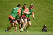 11 September 2017; Stephen Archer of Munster supported by team-mates Tommy O'Donnell and Niall Scannell during Munster Rugby squad training at the University of Limerick in Limerick. Photo by Diarmuid Greene/Sportsfile