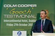 12 September 2017; MC Matt Cooper speaking at the Colm Cooper Testimonial Dinner launch at Zurich Insurance in Ballsbridge, Dublin. Photo by Piaras Ó Mídheach/Sportsfile