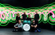 12 September 2017; Le Galaxie were pictured alongside Aoife Woodlock, music producer for eir Other Voices, far left, and Oisin Masterson, eir's head of brand and marketing, far right, at the launch of the eir Other Voices Open Call 2017, which will make possible the opportunity for one Irish artist to earn a huge coverted performance slot at the IMRO Other Room during the festival.  Transmisson of that performance on RTÉ along with further music career support from eir including all festival expenses, time in a recording studio and budget to create a music video, along with music industry mentoring from the eir Other Voices team. Visit www.othervoices.ie for further information.  Photo by Sam Barnes/Sportsfile