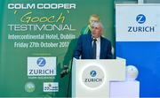 12 September 2017; Lorcan Harding, Director of Sales & Distribution, Zurich Insurance, at the Colm Cooper Testimonial Dinner launch at Zurich Insurance in Ballsbridge, Dublin. Photo by Piaras Ó Mídheach/Sportsfile