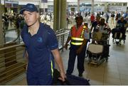 13 September 2017; Jordan Larmour of Leinster pictured during the squad's arrival at OR Tambo Airport in Johannesburg, South Africa. Photo by Sydney Seshibedi/Sportsfile