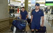 13 September 2017; Joey Carbery, left, and Jack Conan of Leinster pictured during the squad's arrival at OR Tambo Airport in Johannesburg, South Africa. Photo by Sydney Seshibedi/Sportsfile