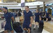 13 September 2017; Rhys Ruddock, centre, Dave Kearney, left, and James Tracy of Leinster pictured during the squad's arrival at OR Tambo Airport in Johannesburg, South Africa. Photo by Sydney Seshibedi/Sportsfile