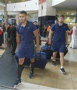 13 September 2017; Adam Byrne, left, and Ross Byrne of Leinster pictured during the squad's arrival at OR Tambo Airport in Johannesburg, South Africa. Photo by Sydney Seshibedi/Sportsfile
