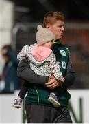13 September 2017; Kevin O'Brien of Ireland with his daughter Eleanor at the One Day International match between Ireland and West Indies at Stormont in Belfast. Photo by Piaras Ó Mídheach/Sportsfile