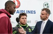 13 September 2017; West Indies captain Jason Holder and Ireland's Gary Wilson is interviewed by Charles Dagnall, BBC, after the One Day International match between Ireland and West Indies was cancelled due to a wet pitch, at Stormont in Belfast. Photo by Piaras Ó Mídheach/Sportsfile