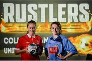 13 September 2017; Rachel Graham, left, of IT Carlow, and Dearaibhle Beirne of UCD in attendance during the Rustlers FAI Colleges and Universities launch at the FAI HQ in Abbotstown, Dublin. Photo by Cody Glenn/Sportsfile