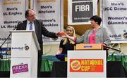 13 September 2017; Bernard O'Byrne, CEO, Basketball Ireland, and Theresa Walsh, President, Basketball Ireland, making the draw for the President's Cup, at the official launch of the Basketball Ireland season 2017/18 at the National Basketball Arena in Tallaght, Dublin. Photo by Brendan Moran/Sportsfile