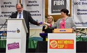 13 September 2017; Bernard O'Byrne, CEO, Basketball Ireland, and Theresa Walsh, President, Basketball Ireland, making the draw for the Hula Hoops Men's National Cup, at the official launch of the Basketball Ireland season 2017/18 at the National Basketball Arena in Tallaght, Dublin. Photo by Brendan Moran/Sportsfile