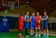13 September 2017;  Pictured at the official launch of the Basketball Ireland season 2017/18 are players representing Cork, from left, Breana Bey of Singleton SuperValu Brunell, Ian Thom of BFG Neptune, Hannah McCarthy of Ambassador UCC Glanmire, Evan Barret of Father Mathews, and Madeline Ganser of Singleton SuperValu Brunell at the National Basketball Arena in Tallaght, Dublin, where the Hula Hoops National Cup draw also took place. Photo by Sam Barnes/Sportsfile