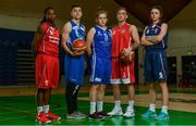 13 September 2017;  Pictured at the official launch of the Basketball Ireland season 2017/18 are players representing Cork, from left, Breana Bey of Singleton SuperValu Brunell, Ian Thom of BFG Neptune, Hannah McCarthy of Ambassador UCC Glanmire, Evan Barret of Fr. Mathews, and Madeline Ganser of Singleton SuperValu Brunell at the National Basketball Arena in Tallaght, Dublin, where the Hula Hoops National Cup draw also took place. Photo by Sam Barnes/Sportsfile