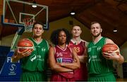 13 September 2017;  Pictured at the official launch of the Basketball Ireland season 2017/18 are players representing Galway, from left, Brandon McGuire of SSE Airtricity Moycullen, Deja Bullock of NUIG Mysitcs, Keegan Ryan of Titans and Dylan Cunningham of SSE Airtricity Moycullen, at the National Basketball Arena in Tallaght, Dublin, where the Hula Hoops National Cup draw also took place. Photo by Sam Barnes/Sportsfile
