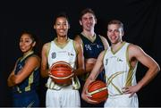 13 September 2017; Ulster University Elks players, from left, Natalya Lee, Nia Moore,  Matthew Bauer and Luke Eddy pictured at the official launch of the Basketball Ireland season 2017/18 at the National Basketball Arena in Tallaght, Dublin, where the Hula Hoops National Cup draw also took place. Photo by Sam Barnes/Sportsfile