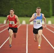 24 June 2012; Eventual winner Marcus Lawler, right, St. Laurence O'Toole A.C, Co. Carlow, leads eventual second place Greg O'Shea, Dooneen A.C, Co. Limerick,  during the Junior Men 200m event. Woodie's DIY Junior and U23 Track and Field Championships of Ireland, Tullamore Harriers A.C., Tullamore, Co. Offaly. Picture credit: Tomás Greally / SPORTSFILE
