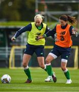 15 September 2017; Stephanie Roche, left, and Niamh Fahey, right, of Republic of Ireland during a squad training session at the FAI National Training Centre in Abbotstown, Dublin.  Photo by Seb Daly/Sportsfile