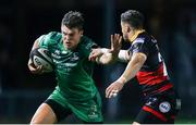15 September 2017; Tom Farrell of Connacht is tackled by Dorian Jones of Dragons during the Guinness PRO14 Round 3 match between Dragons and Connacht at Rodney Parade in Newport, Wales. Photo by Chris Fairweather/Sportsfile
