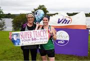 16 September 2017; Former Roscommon GAA footballer, Cathal Cregg and current Roscommon GAA footballer Niall Kilroy joined runners at the Lough Key parkrun where Vhi hosted a special event to celebrate their partnership with parkrun Ireland. Cathal Cregg and Niall Kilroy were on hand to lead the warm up for parkrun participants before completing the 5km course alongside newcomers and seasoned parkrunners alike. Vhi provided walkers, joggers, runners and volunteers at Lough Key parkrun with a variety of refreshments in the Vhi Relaxation Area at the finish line. A qualified physiotherapist was also available to guide participants through a post event stretching routine to ease those aching muscles. parkruns take place over a 5km course weekly, are free to enter and are open to all ages and abilities, providing a fun and safe environment to enjoy exercise. To register for a parkrun near you visit www.parkrun.ie. New registrants should select their chosen event as their home location. You will then receive a personal barcode which acts as your free entry to any parkrun event worldwide. Pictured is Tracey Harkin, behind, from Drumkeeran, Co. Leitrim, who was celebrating her 50th parkrun, with her mother Bernie McPartland, at Lough Key, Co. Roscommon. Photo by Seb Daly/Sportsfile