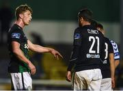 15 September 2017; John Sullivan of Bray Wanderers talks to team mate Tim Clancy during the SSE Airtricity League Premier Division match between Bray Wanderers and Limerick FC at the Carlisle Grounds in Wicklow. Photo by David Fitzgerald/Sportsfile