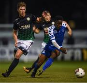 15 September 2017; Chiedozie Ogbene of Limerick in action against John Sullivan of Bray Wanderers during the SSE Airtricity League Premier Division match between Bray Wanderers and Limerick FC at the Carlisle Grounds in Wicklow. Photo by David Fitzgerald/Sportsfile