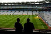16 September 2017; Former Donegal footballer Brian McEniff, left, and former Kilkenny hurler Eddie Keher survey Croke Park at the GPA Former Players Event at Croke Park in Dublin. Photo by Cody Glenn/Sportsfile