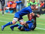 16 September 2017; Rhys Ruddock, center, and Jack Conan of Leinster drive Andisa Ntsila of Southern Kings out of bounds during the Guinness PRO14 Round 3 match between Southern Kings and Leinster at the Nelson Mandela Bay Stadium in Port Elizabeth, South Africa. Photo by Richard Huggard/Sportsfile