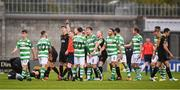 16 September 2017; Aaron Bolger, left, of Shamrock Rovers receives a red card from referee Derek Tomney during the EA Sports Cup Final between Shamrock Rovers and Dundalk at Tallaght Stadium in Dublin. Photo by Stephen McCarthy/Sportsfile