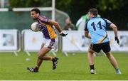 16 September 2017; Craig Dias of Kilmacud Crokes in action against Rob Finnerty of Salthill Knockncarra during the Volkswagen7s Senior All Ireland Football 7s semi-final match between Kilmacud Crokes of Dublin and Salthill Knockncarra of Galway at Kilmacud Crokes in Dublin. Photo by Piaras Ó Mídheach/Sportsfile
