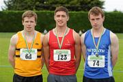 24 June 2012; Gold medal winner Greg O'Shea, centre, Dooneen A.C., Co. Limerick, with second place Paul Scanlan, Leevale A.C., Co. Cork, and third place Eamon Wallace, from Ratoath A.C., Co. Meath, after the Junior Men's 100m at the Woodie's DIY Junior and U23 Track and Field Championships of Ireland, Tullamore Harriers A.C., Tullamore, Co. Offaly. Picture credit: Matt Browne / SPORTSFILE